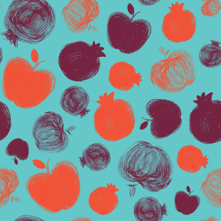 Rosh Hashanah (Jewish New Year) seamless pattern background. Hand drawn elements: apple and pomegranate. Rosh Hashanah symbols. Vector illustration Vektorové ilustrace