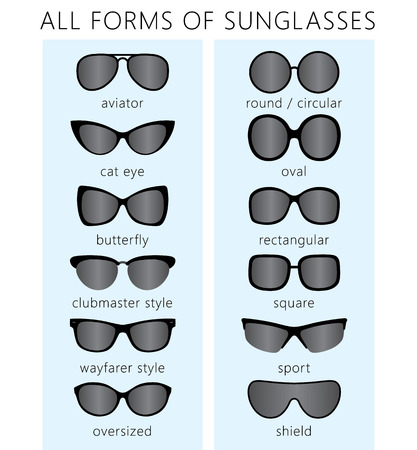 All forms / types of fashionable sunglasses. Aviator, cat eye, butterfly, clubmaster, wayfarer, sport, round, shield, oval, square. Types sunglasses.