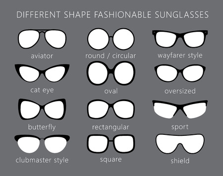 wayfarer: All forms  types of fashionable sunglasses. Aviator, cat eye, butterfly, clubmaster, wayfarer, sport, round, shield, oval, square. Types sunglasses.