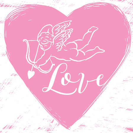 eros: Vector composition with a painted heart, angel, Amur, Cupid and calligraphic text LOVE. Love concept for t-shirts, flyer, posters, card and other uses.