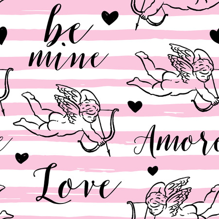 eros: Seamless pattern with silhouettes of angel, Amur, Cupid, heart and calligraphic text LOVE, AMORE. Valentine`s Day color background, Love concept for flyer, posters, card and other uses.