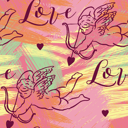 eros: Seamless pattern with silhouettes of angel, Amur, Cupid, heart and calligraphic text LOVE. Valentine`s Day color background, Love concept for flyer, posters, card and other uses.