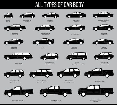 All types of car body. Car Type and Model Objects icons Set . black illustration isolated on grey background. Variants of automobile body silhouette for web. Illustration