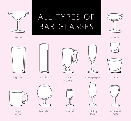 BARWARE: Bar glasses vector icons set. Vector types of barware glasses silhouettes. Guide to various types of barware glasses. Illustration