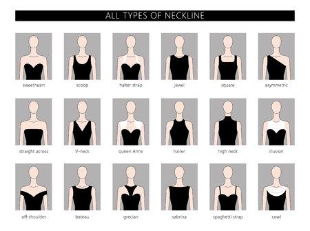 Ensemble d'illustration vectorielle de différents types de décolleté pour la mode féminine. Vector en style linéaire plat. Vecteurs