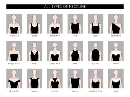 Vector illustration set of various neckline types for women's' fashion. Vector in flat linear style. Banco de Imagens - 77047476