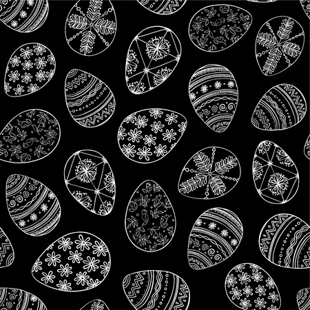 Seamless vector pattern with doodle Easter eggs. Easter hand-drawn decorative ornate elements in vector. Иллюстрация