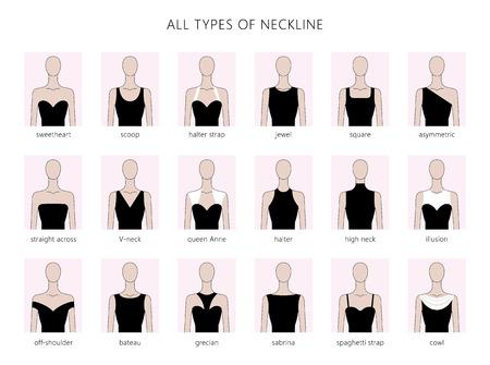 Ensemble d'illustration vectorielle de différents types de décolleté pour la mode féminine. Vector en style linéaire plat.