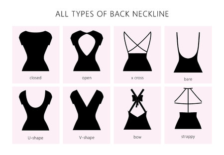 Vector Illustration set of various back neckline types for women's' fashion. Vector in flat linear style. Vettoriali