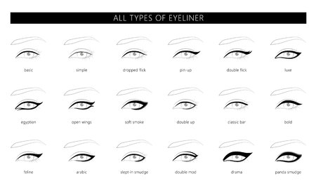 Types of eyeliner. Vector  illustration. Stylish make up. Vogue beauty article, magazine, book. Vector set.