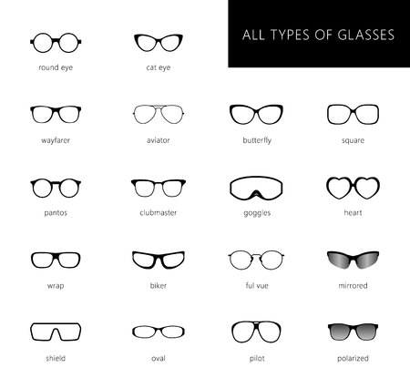Flat vector glasses big set illustration. Collection of different of rim glasses types - round, square, cat eye glasses. Different style - hipster, retro, vintage, modern, classic. Ilustração Vetorial