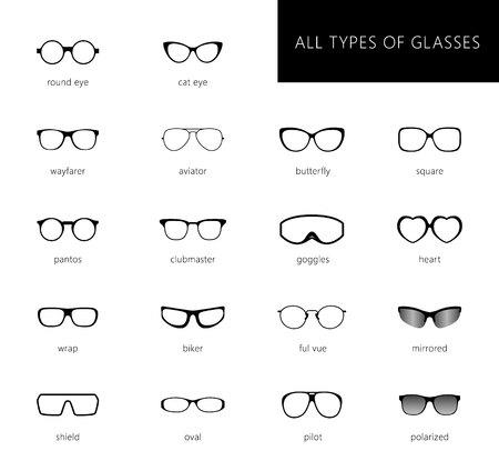 Vetri vettoriali piatti grande illustrazione set. Collezione di diversi tipi di occhiali da vista - tondi, quadrati, occhiali da gatto. Stile diverso - hipster, retro, vintage, moderno, classico. Vettoriali