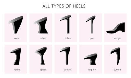Set met verschillende soorten damesschoenen. Vector set. Alle soorten silhouetten hakken.