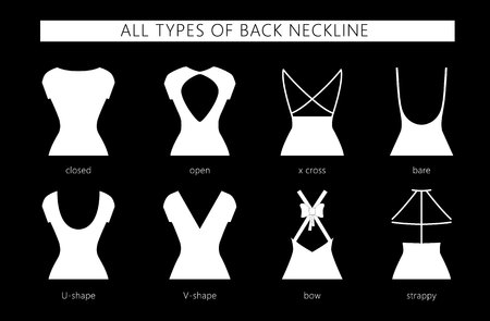 Vector illustration set of various back neckline types for womens fashion. Vector in flat linear style. Иллюстрация