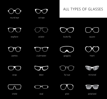 Flat vector glasses big set illustration. Collection of different of rim glasses types - round, square, cat eye glasses. Different style - hipster, retro, vintage, modern, classic.