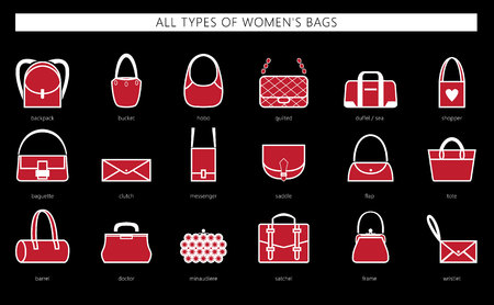 All types of womens bags ranging from elegant, sports, business and travel bags. Vector set.