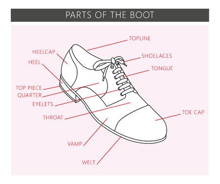 Schuhteile im Vektor. Teile des Stiefels.