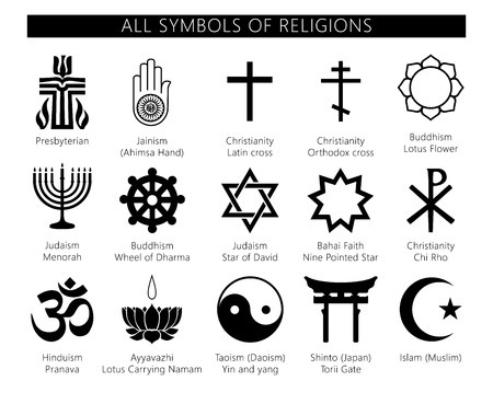 Religion icons set. set of 19 religion black icons: buddhism, christianity, judaism, hinduism, islam. Vector symbols of religions. Иллюстрация