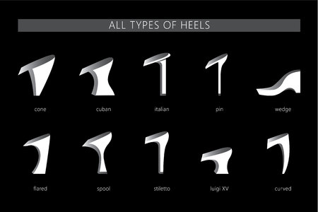 Set with different types of womens heels. Vector set. All types of silhouettes heels.