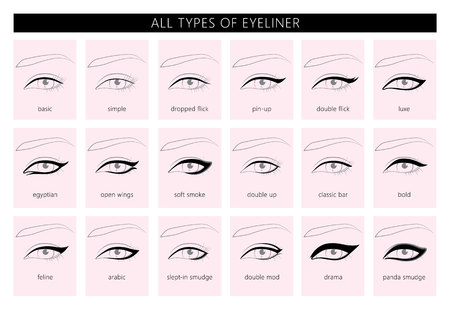 Types of eyeliner. Vector  illustration. Stylish make up. Vogue beauty article, magazine, book. Vector set.