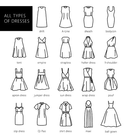 Dresses silhouette vector set. Vector. All types of womens dresses. Иллюстрация