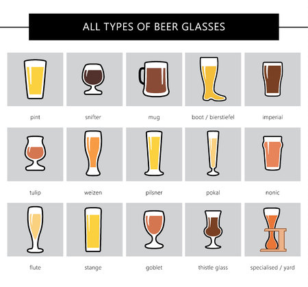 All types of beer glasses, different colors. Icon set in flat style. Different forms of glasses. Vector.