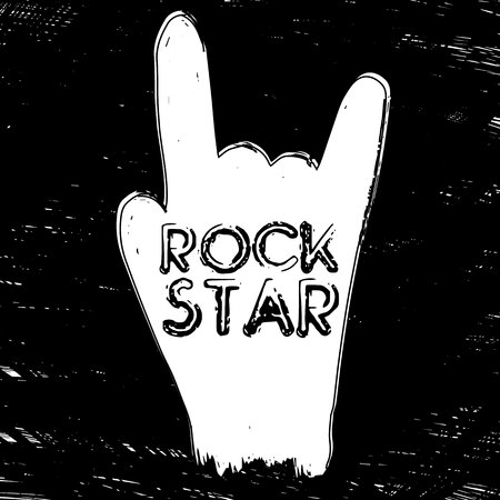 Quote Rock Star. Fashionable calligraphy. Vector illustration on black and white illustrated hand. Motivation and inspiration. Elements for design. Youth greeting. Иллюстрация