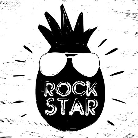 Quote Rock Star. Fashionable calligraphy. Vector illustration on black and white illustrated cool pineapple with sunglasses. Motivation and inspiration. Elements for design. Youth greeting. Illustration