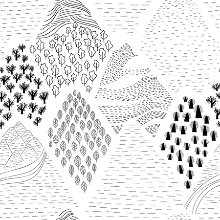 Seamless vector pattern with decorative mountains. Black and white decorative composition with a hand sketched mountains.