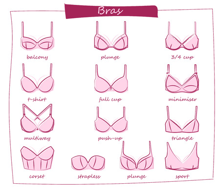 Bra icons set. Different types of bras. All types of bras. Vector.