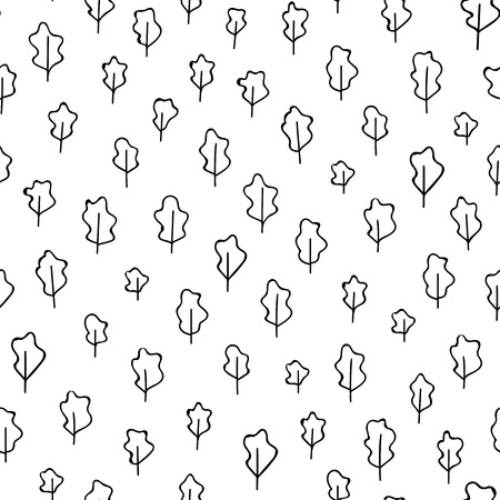 Trees vector pattern. Doodle seamless pattern with creative trees. Pattern design for textile or packaging. Seamless pattern Иллюстрация