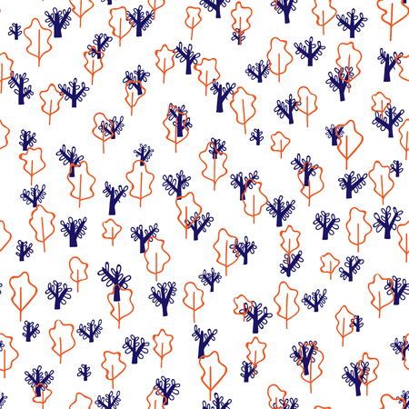 Trees vector pattern. Doodle seamless pattern with creative trees. Pattern design for textile or packaging. Seamless pattern Illustration