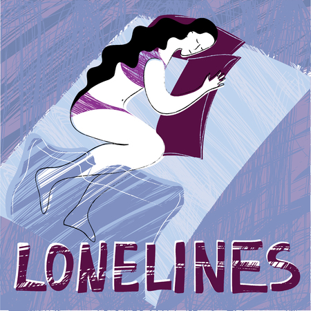 A lonely woman is sleeping alone. Vector compass with the inscription Loneliness Çizim