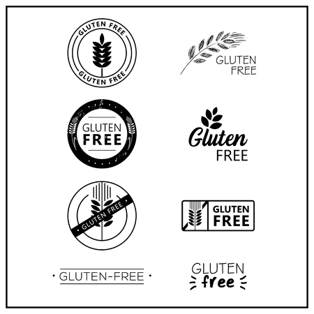 Gluten free drawn isolated sign icon set. Healthy lettering symbol of gluten free. Black and white gluten-free vector logos for products.