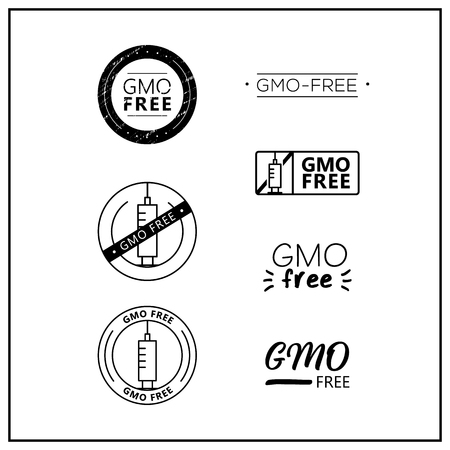 GMO free icons on white background. GMO free drawn isolated sign icon set. Healthy lettering symbol of gmo free. Black and white GMO-free vector logos for products. Иллюстрация