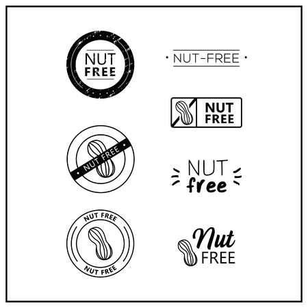 Nut free icons on white background. Nut-free drawn isolated sign icon set. Healthy lettering symbol of nut free. Black and white nut-free vector logos for products.