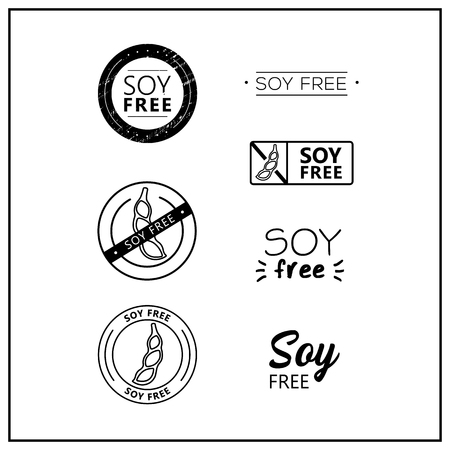 Soy free icons on white background. Soy-free drawn isolated sign icon set. Healthy lettering symbol of soy free. Black and white soy-free vector logos for products. Çizim