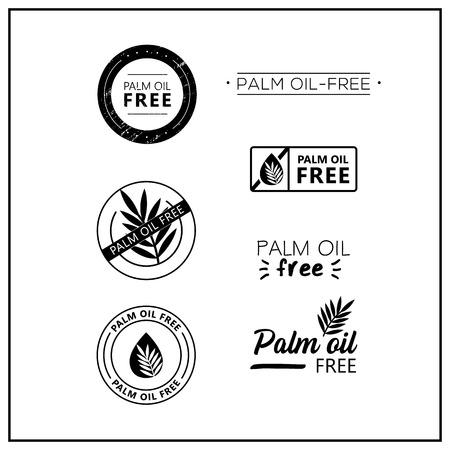 Icone senza olio di palma su sfondo bianco. Insieme dell'icona del segno isolato disegnato senza olio di palma. Lettering sano simbolo di olio di palma gratuito. Loghi vettoriali senza olio di palma in bianco e nero per i prodotti. Vettoriali