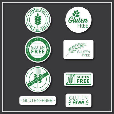 Set of gluten free sticker design elements. Gluten-free vector logos for products. Çizim