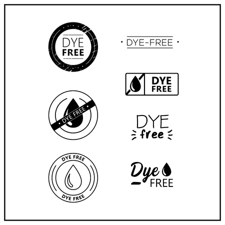 Vector logos for products. Icons dye free for product packaging. Dye-free drawn isolated sign icon set. Product labels. Иллюстрация
