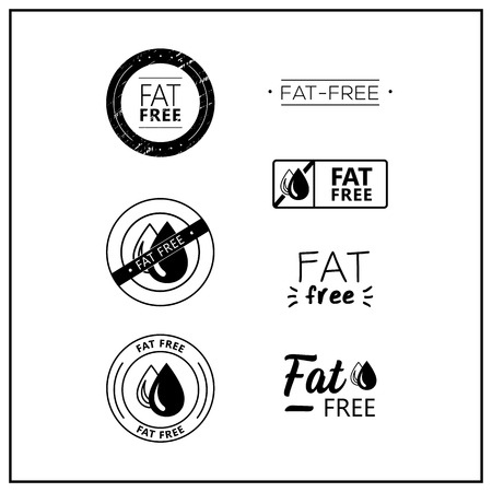 Vector logos for products. Icons fat free for product packaging. Fat-free drawn isolated sign icon set. Product allergen labels. Stok Fotoğraf