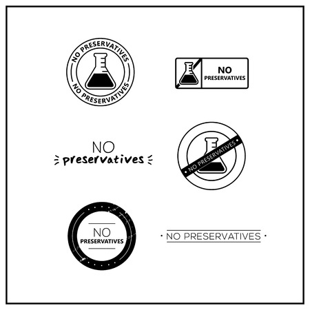 Vector logos for products. Icons no preservatives for product packaging. No preservatives drawn isolated sign icon set. Product allergen labels.