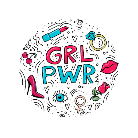 Doodle style illustration with girl symbols. Circle illustration with words GRL PWR and symbols around it: lipstick, lips, eye, shoes, rose. Girl power. Иллюстрация