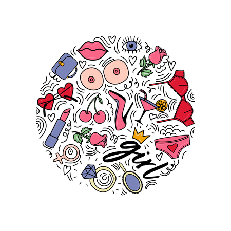 Doodle style illustration with girl symbols. Circle illustration with symbols around: lipstick, lips, eye, shoes, rose. Girl power.