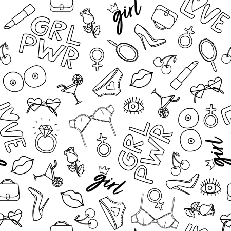 Doodle style illustration with girl symbols. Seamless pattern with different Girl powerl symbols.Grl pwr simbols: lips, lipstick, eye.