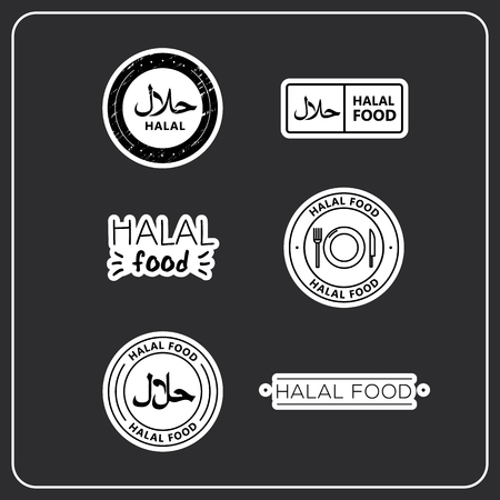 A set of black and white icon halal stickers, halal food. stickers for products. Icons halal for product packaging.