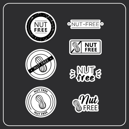 Nut free stickers on white background. Nut-free drawn isolated sign icon set. Healthy lettering symbol of nut free. Иллюстрация