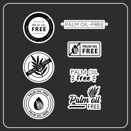 Palm oil free stickers on white background. Palm oil-free drawn isolated sign icon set. Healthy lettering symbol of palm oil free.