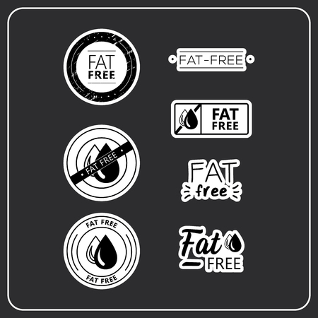 stickers for products. Stickers fat free for product packaging. Fat-free drawn isolated sign icon set. Product allergen labels. Иллюстрация