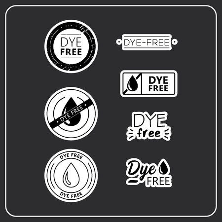Icon for products. Stickers dye free for product packaging. Dye-free drawn isolated sign icon set. Product labels.